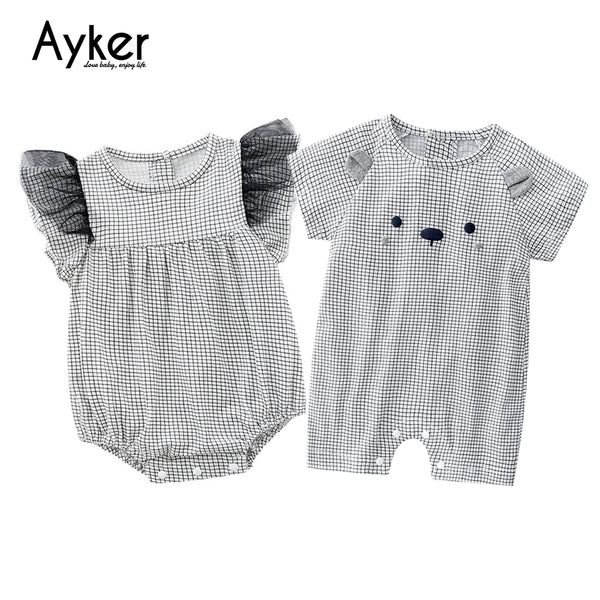Twins Baby Clothes Boy and Girls Bodysuit Newborn Twin Romper Baby Clothing Brother Sister Summer Triangle Climb Clothes