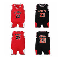 YSCULBUTOL Twin baby Sport basketball bodysuit Funny Color Red Black big brother Twin Newborn baby clothing 0-12M