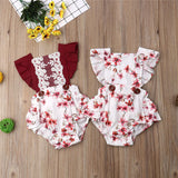 2019 Newborn Baby Girl Bodysuit Summer Kid Clothes Twins Princess Outfit Infant Floral Bodysuit Lace Jumpsuit Toddler Clothing