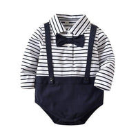 Newborn Baby Bodysuits Gentlemen's Style Outfits Cotton Toddler Girls Dresses New Infant Baby Boys Clothing Twin Clothes 0-4Y