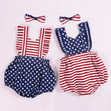 Infant Baby Girls 4th of July Stars Striped Patriotic Backless Bodysuit Twins Baby Sister Clothes Bebe Recem-Nascido Roupas