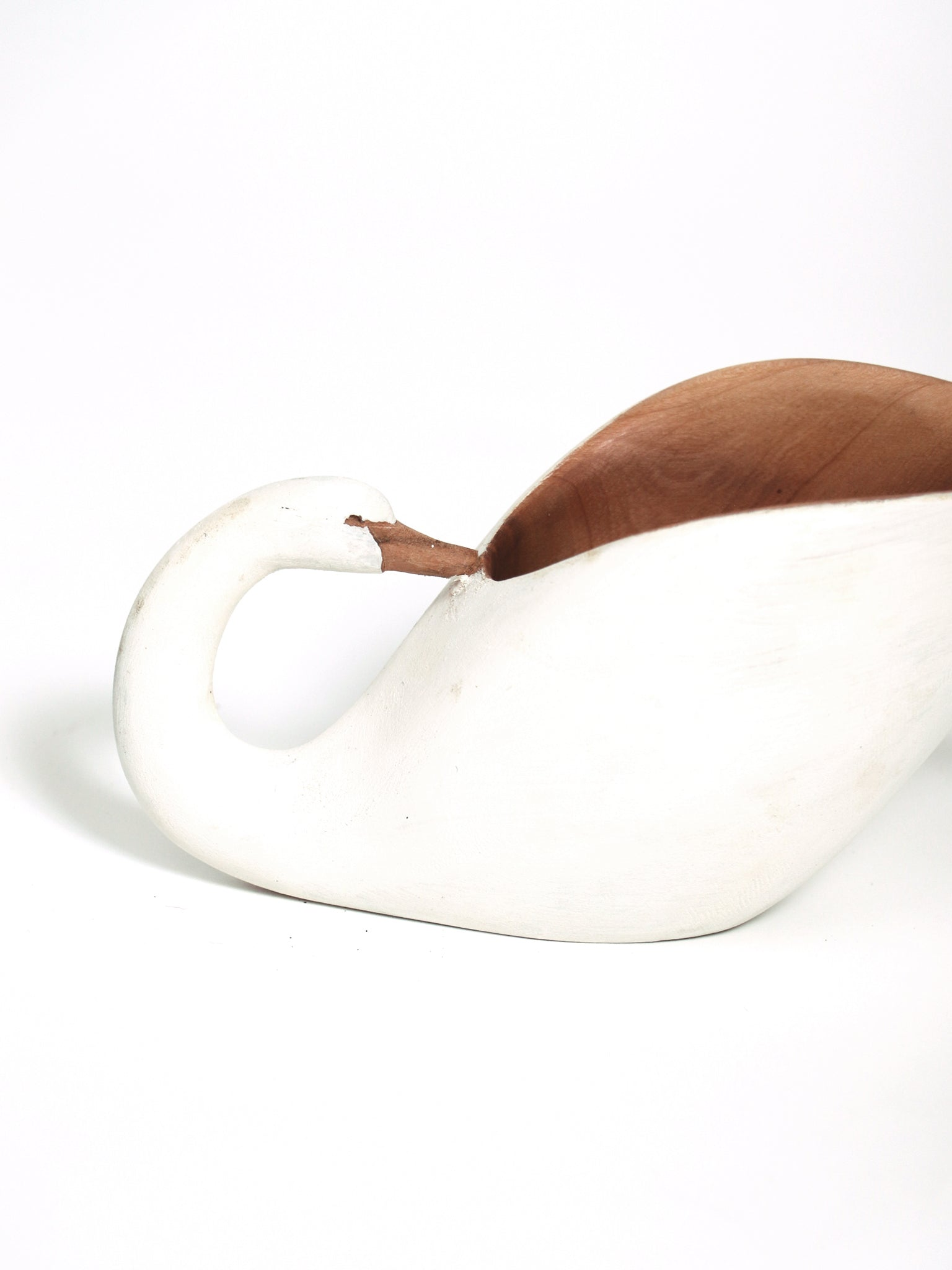 Swan bowl, hand-carved wood