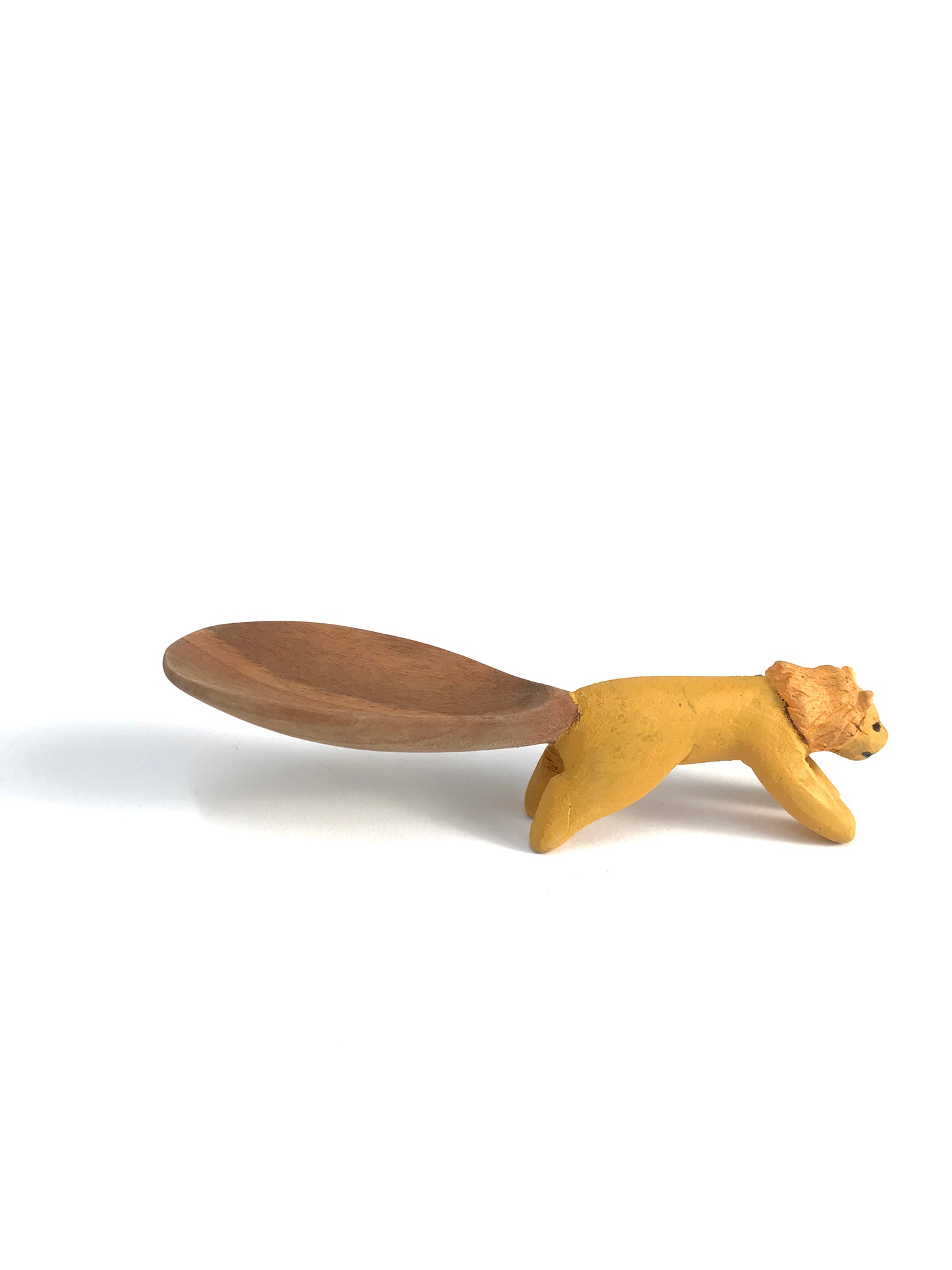 Lion spoon, hand-carved wood