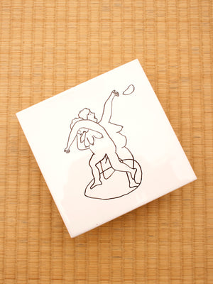 Hand-painted tile, Shot Put Granny