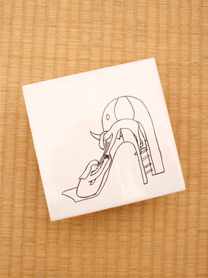Hand-painted tile, The Elephant Slide