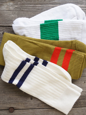 Socks, melange band white / green