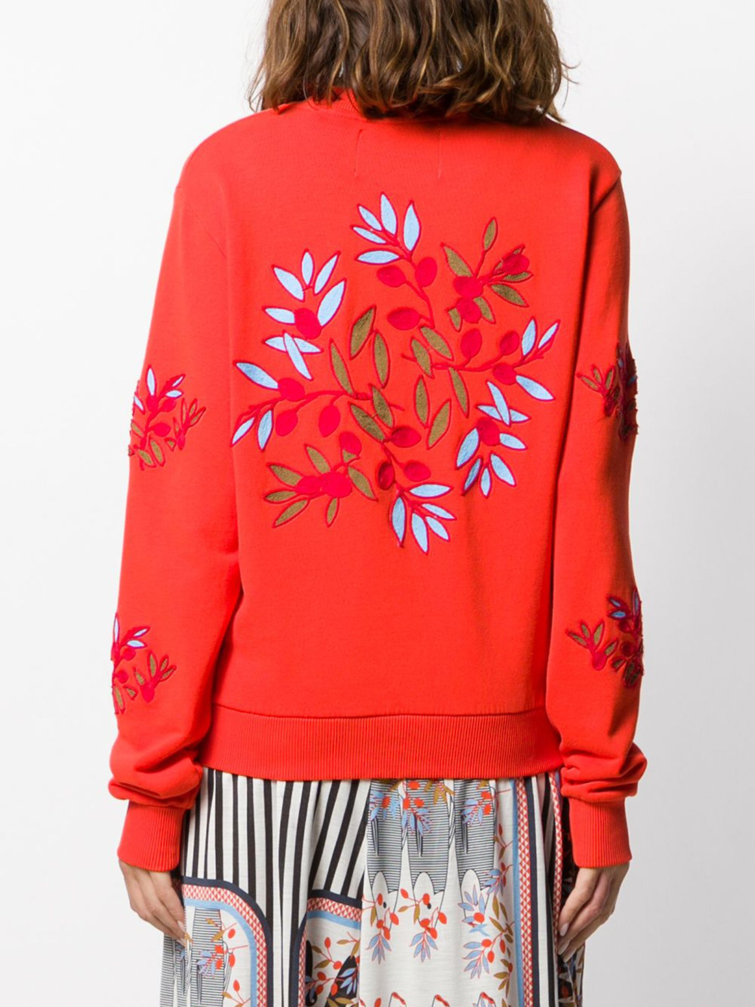 Henrik Vibskov Flower round neck sweatshirt red