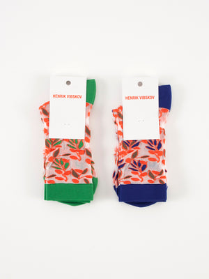Henrik Vibskov Olive socks sheer navy