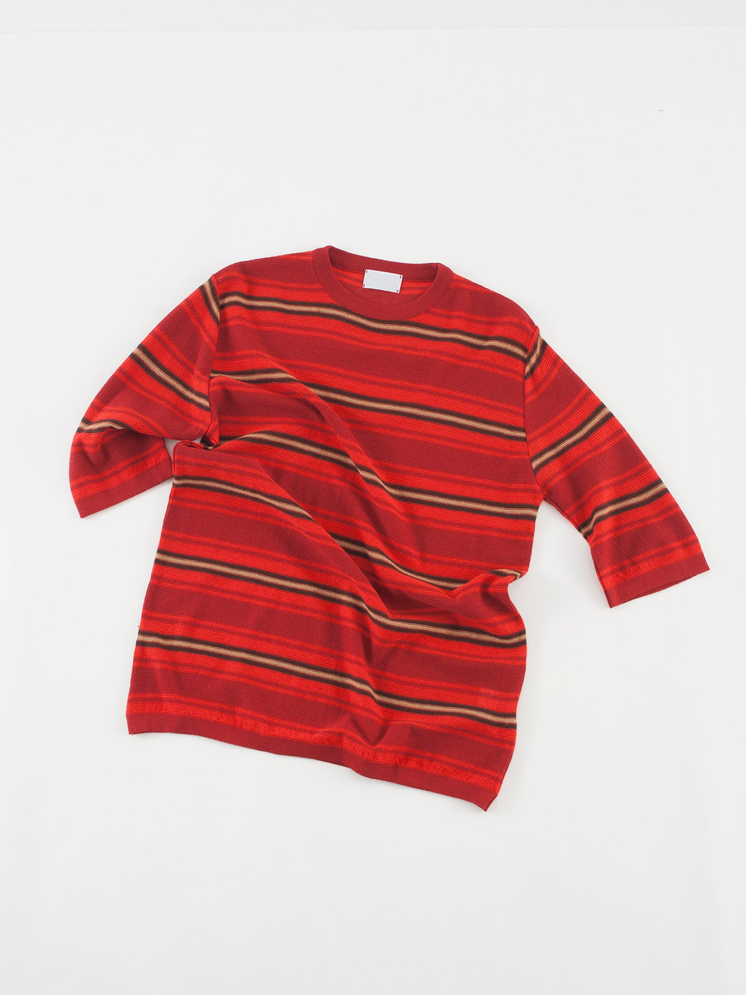 Knit T-shirt, red-bordeaux stripes