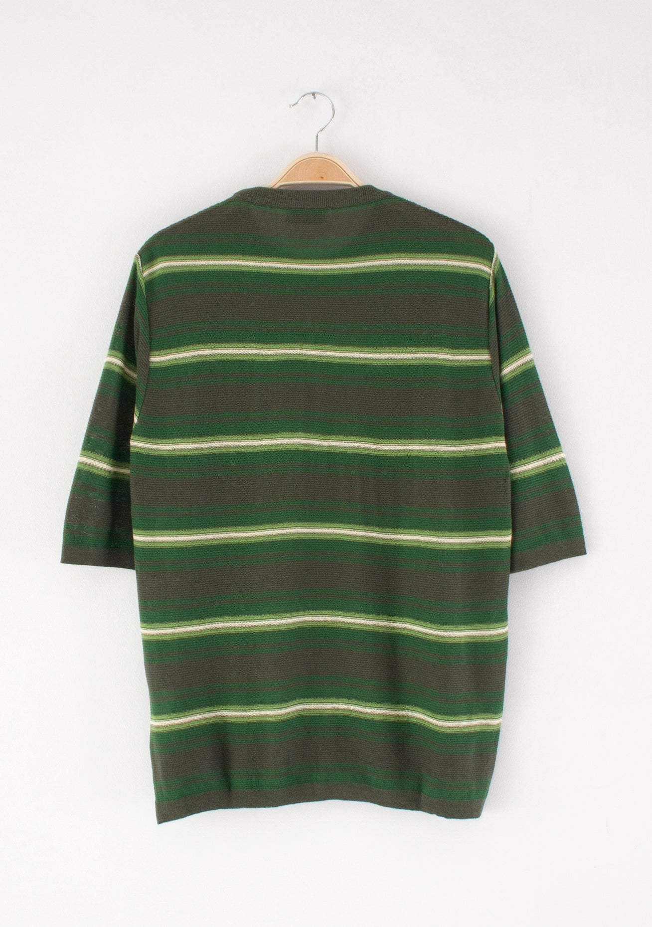 Knit T-shirt, forest-green stripes