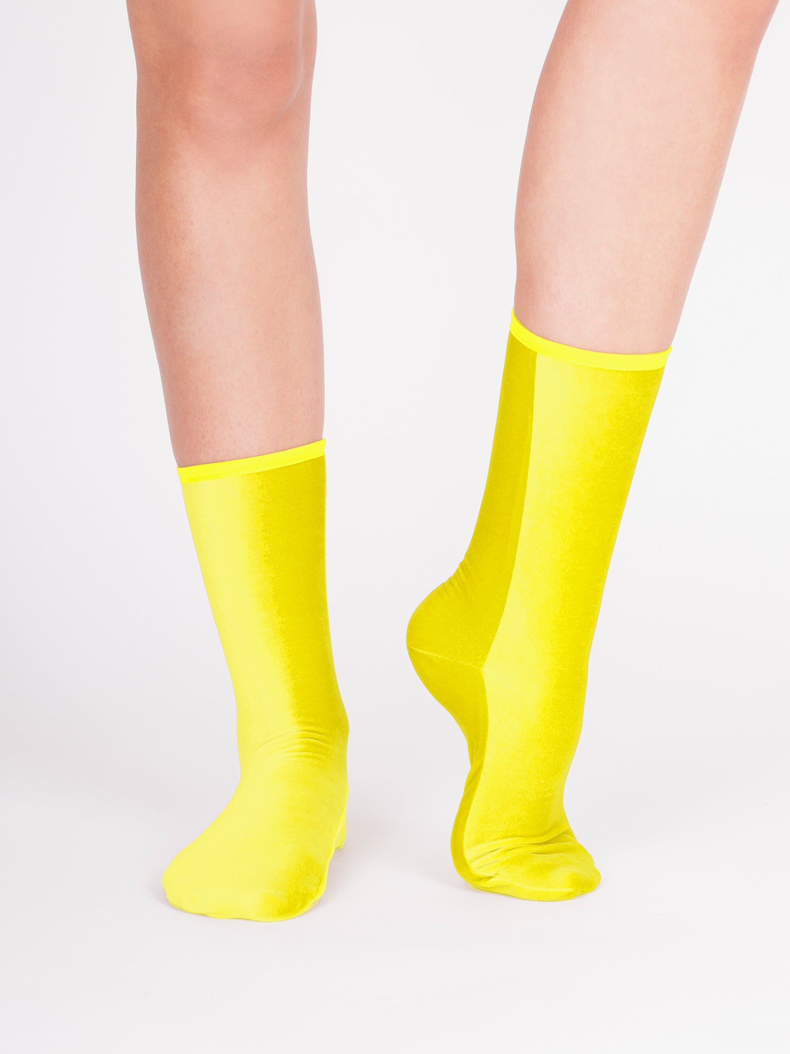 Velvet ankle socks, limoncello
