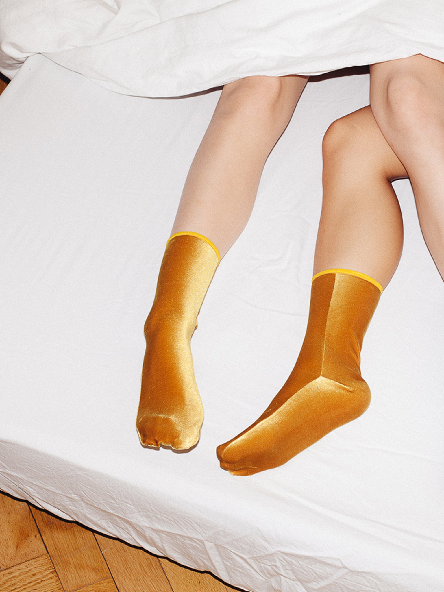 Velvet ankle socks, mustard yellow