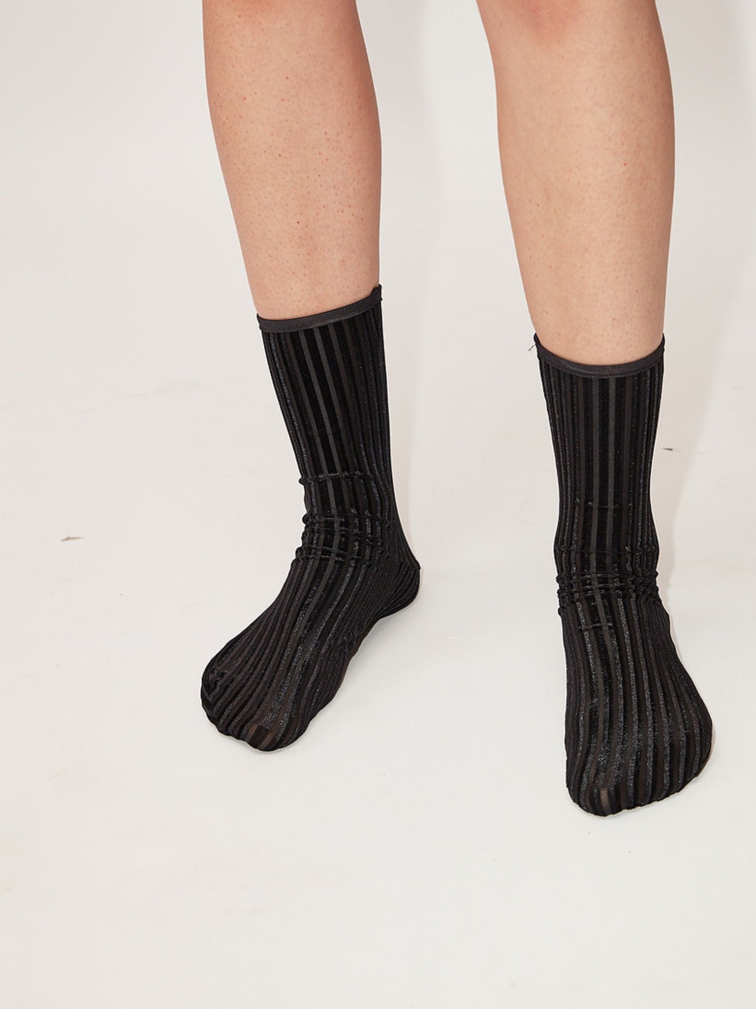 Rib Velvet ankle socks, black