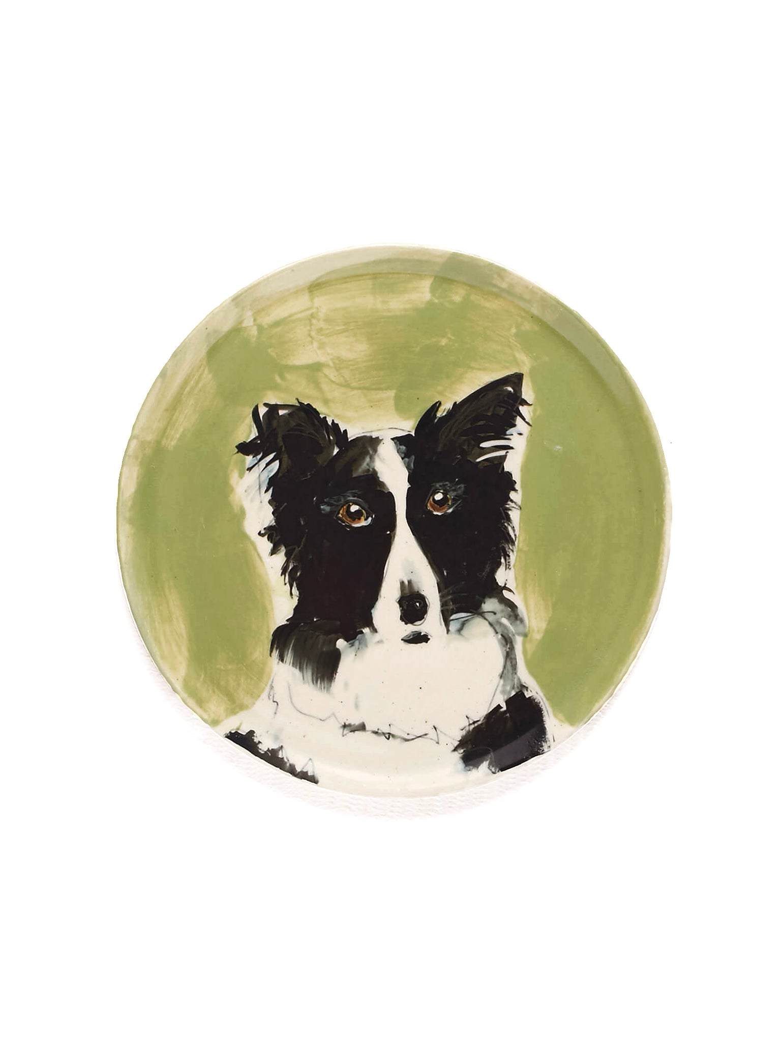 the painter's wife border collie ceramic plate