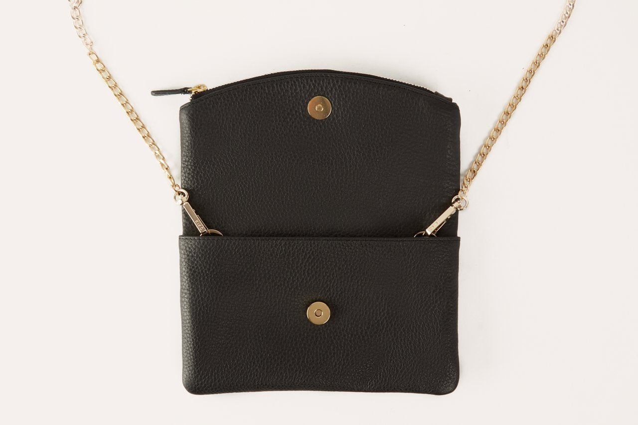 Kiko Black Leather Flap Clutch