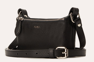 Kiko Black Simple Leather Crossbody Black