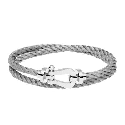 FORCE TEN BRACELET STEEL CABLE WHITE GOLD BUCKLE