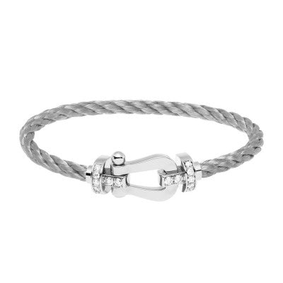 FRED PARIS FORCE 10 BRACELET WHITE GOLD & 14 DIAMONDS BUCKLE
