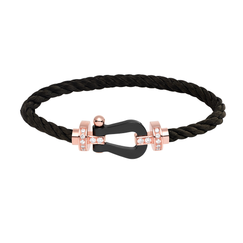 FRED PARIS FORCE 10 BRACELET ROSE GOLD WITH DIAMONDS AND CERAMIC, BLACK STEEL CABLE