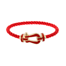 Carica l'immagine nel visualizzatore di Gallery, FRED PARIS FORCE 10 BRACELET YELLOW GOLD WITH RED LACQUE BUCKLE AND RED ROPE CABLE (L)