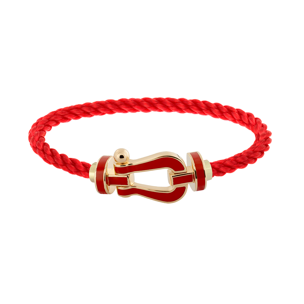 FRED PARIS FORCE 10 BRACELET YELLOW GOLD WITH RED LACQUE BUCKLE AND RED ROPE CABLE (L)