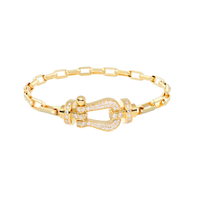 Carica l'immagine nel visualizzatore di Gallery, FRED PARIS FORCE 10 BRACELET YELLOW GOLD WITH DIAMONDS BUCKEL AND LINKS YELLOW GOLD CABLE