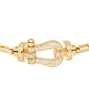 FRED PARIS FORCE 10 BRACELET YELLOW GOLD WITH DIAMONDS BUCKEL AND LINKS YELLOW GOLD CABLE