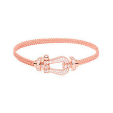 Carica l'immagine nel visualizzatore di Gallery, FRED PARIS FORCE 10 BRACELET ROSE GOLD WITH DIAMONDS BUCKLE AND ROSE GOLD LINKS CABLE