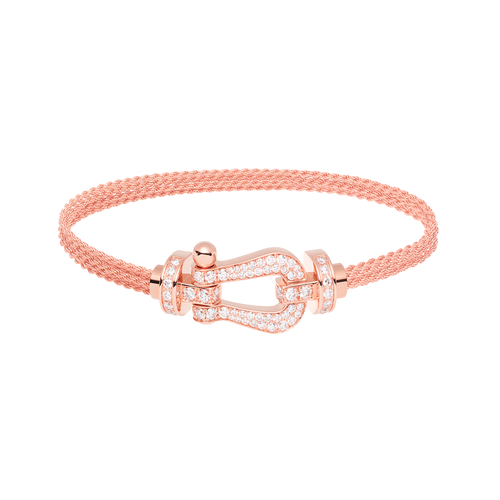 FRED PARIS FORCE 10 BRACELET ROSE GOLD WITH DIAMONDS BUCKLE AND ROSE GOLD LINKS CABLE