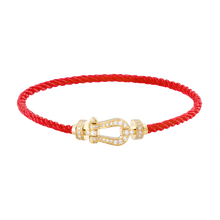Carica l'immagine nel visualizzatore di Gallery, FRED PARIS FORCE 10 BRACELET YELLOW GOLD BUCKEL AND RED CABLE (M)