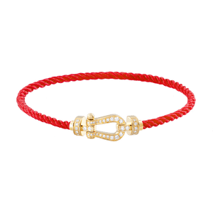 FRED PARIS FORCE 10 BRACELET YELLOW GOLD BUCKEL AND RED CABLE (M)