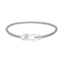 Carica l'immagine nel visualizzatore di Gallery, FRED PARIS FORCE 10 BRACELET WHITE GOLD BUCKLE AND STEEL CABLE (M)