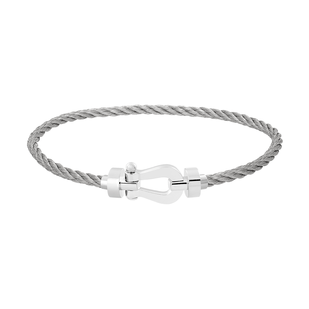 FRED PARIS FORCE 10 BRACELET WHITE GOLD BUCKLE AND STEEL CABLE (M)