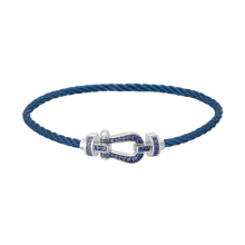 Carica l'immagine nel visualizzatore di Gallery, FRED PARIS FORCE 10 BRACELET WHITE GOLD WITH BLU SAPPHIRE BUCKLE AND STEEL BLU CABLE
