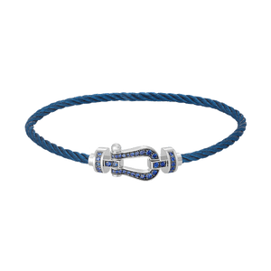 FRED PARIS FORCE 10 BRACELET WHITE GOLD WITH BLU SAPPHIRE BUCKLE AND STEEL BLU CABLE