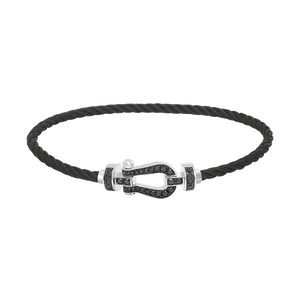 FRED PARIS FORCE 10 BRACELET WHITE GOLD AND BLACK DIAMONDS, STEEL CABLE