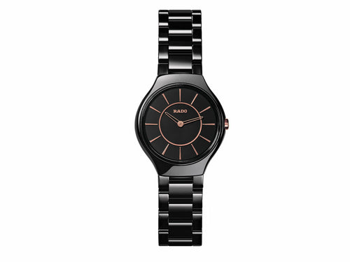 RADO TRUE THIN LINE BLACK CERAMIC LADY WATCH 30 MM