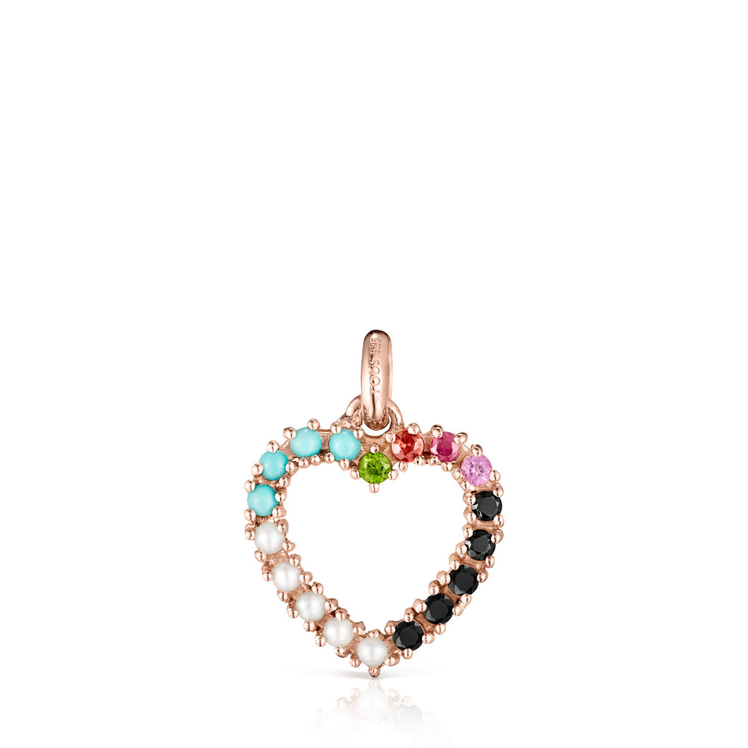 Tous San Valentín heart Pendant in Rose Gold Vermeil with Gemstones 915304520