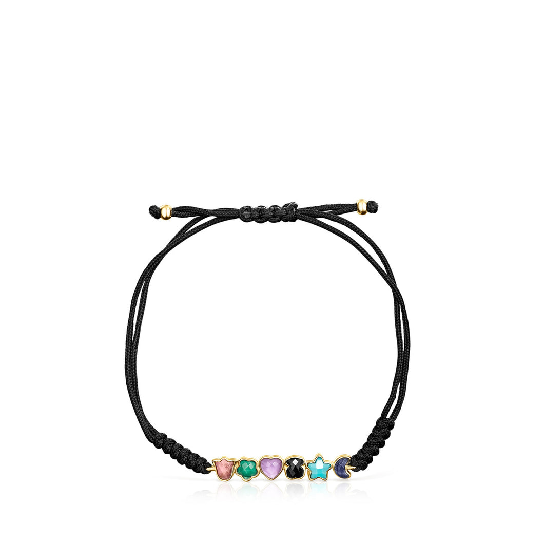 Tous Glory Bracelet in Gold Vermeil with Gemstones and Black Cord 918591530