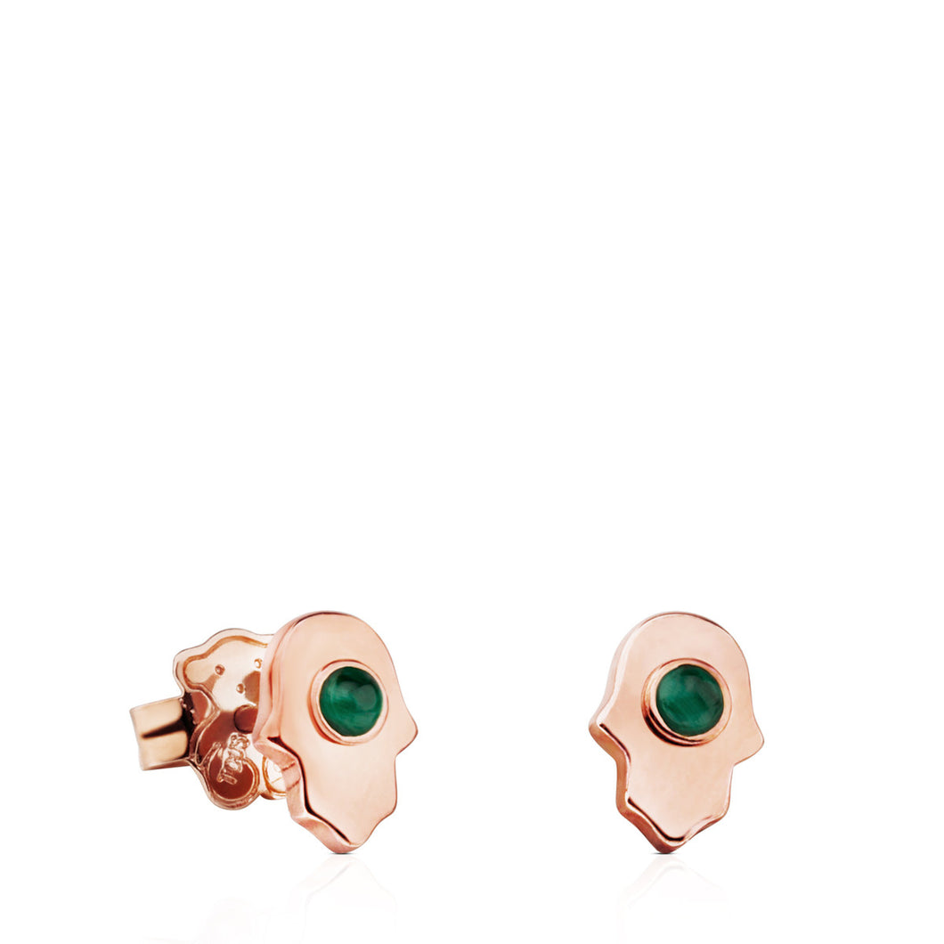 Tous Rose Vermeil Silver Super Power Earrings with Malachite 812403700