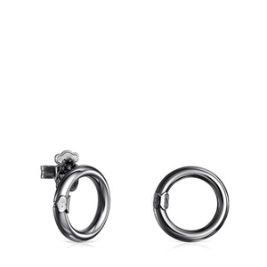 Tous Small Dark Silver Hold Earrings 812343510