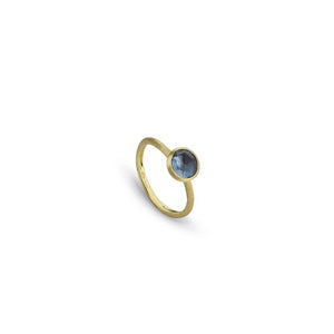 18K JAIPUR YELLOW GOLD AND LONDON BLUE TOPAZ STACKABLE RING AB471 TPL01 Y 02