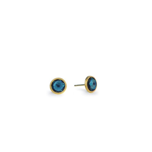 18K Yellow Gold and London Blue Topaz Stud Earrings OB957 TPL01