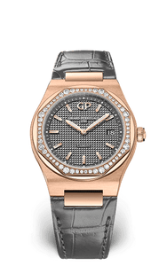 GIRARD PERREGAUX LAUREATO 34 MM 80189D52A232-CB6A PINK GOLD - GREY DIAL - DIAMONDS BEZEL