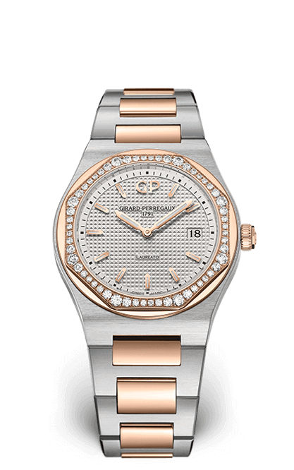 GIRARD PERREGAUX LAUREATO 34 MM 80189D56A132-56A STEEL & PINK GOLD DIAMONDS DIAL