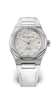 GIRARD PERREGAUX LAUREATO 38 MM 81005D11A131-BB6A ALLIGATOR WHITE - SILVER DIAL- DIAMOND BEZEL
