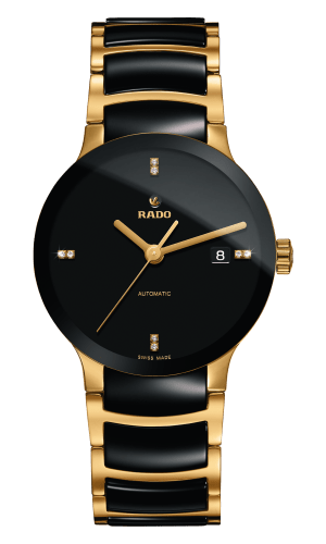 RADO CENTRIX DIAMONDS BLACK DIAL GOLD PLATED & BLACK CERAMIC 38 MM
