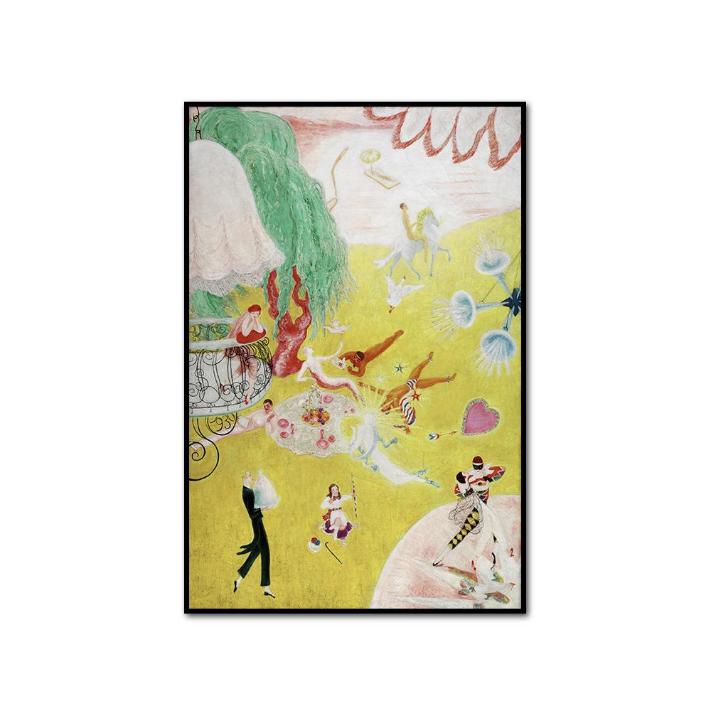Florine Stettheimer, Love Flight of a Pink Candy Heart, artblock in 3 sizes and 2 frame colors by 2020ArtSolutions