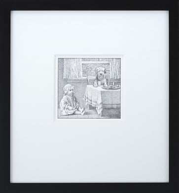 Jenny at the Table by Maurice Sendak Vintage Print Framed in Black - Special Edition, by Museums.Co