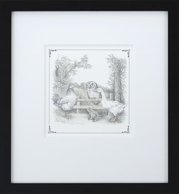 Owl on Fence by Maurice Sendak Vintage Print Framed in Black - Special Edition, by Museums.Co